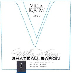 white wine; shateau baron; selected and bottled by тм villa krim; 2009