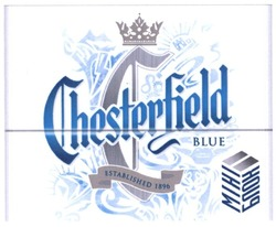 blue; міні блок; established 1896; chesterfield