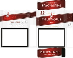 Заявка на знак для товарів і послуг № m201911542: philip morris red; philipmorris; internationally recognized quality since 1847; red 25 edition; london england; selection london; firm filter
