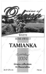 wine of odessa; founded 2004; grape collection in basarabia; вина премиум класса; tamianka; white; semi sweet