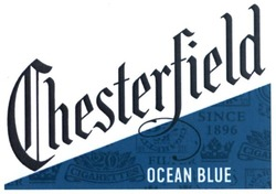 since 1896; chesterfield; 20 cigarettes filter; ocean blue