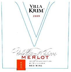 merlot; red wine; selected and bottled by тм villa krim; 2009