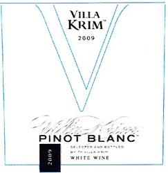 pinot blanc; white wine; selected and bottled by тм villa krim; 2009