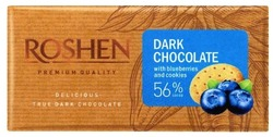roshen; dark chocolate with blueberries and cookies 56% cocoa; premium quality; delicious; true dark chocolate