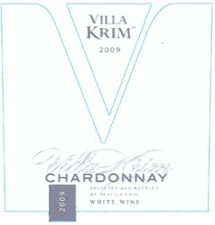 white wine; selected and bottled by тм villa krim; 2009; chardonnay