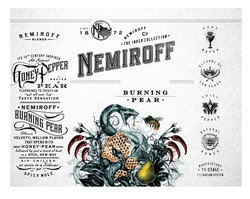 its 16th century inspired; since 1872; nemiroff blends; honey pepper; all natural; pure water; recipe; вір; proprietary 11-stage filtration system; bold orange aged in oak barrels; bright clean; bright&clean with just the right wint of sweet citrus&spice; chilt pepper; natural honey; alcohol of lux class; the perfect cocktail; bip chilled shots or mie with orange juice&ginger ale; citrus spice; mellowing it in oak barrels for three months to create an all new taste sensation; flavorings; fresh orange; all-natural