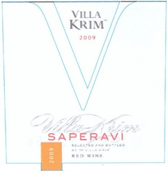 saperavi; red wine; selected and bottled by тм villa krim; 2009